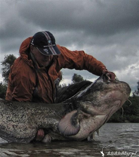 Taki duży facet, a z rybą sobie poradzić nie może :)